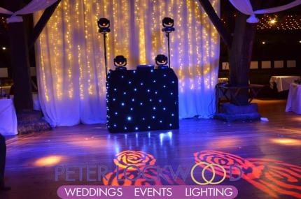 wedding dj disco setup in rivington barn
