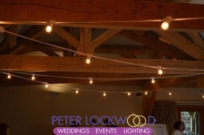 oak room at the white hart white cable festoon lighting