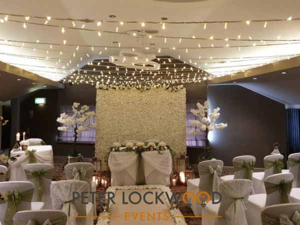 wedding ceremony fairy light canopy