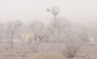Dust storm white out