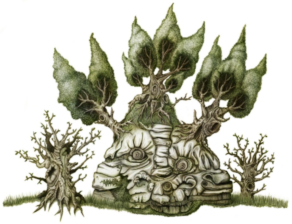 A rocky mound with a podgy face, and trees sprouting from the top.