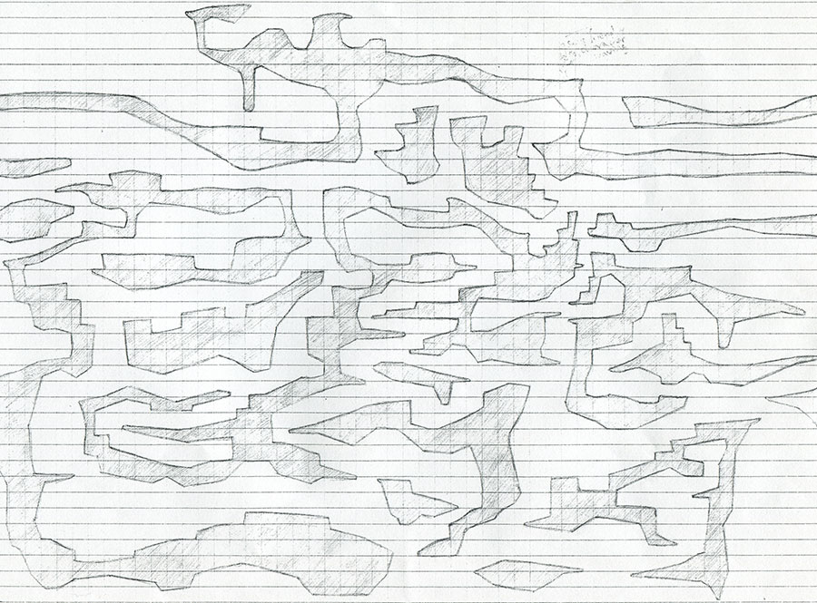 Draft level design on squared paper by Peter McClory
