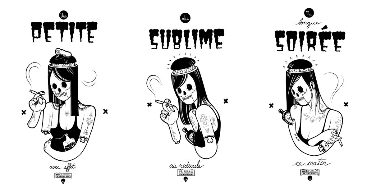 French Girls - 2013 - Ink on illustration board