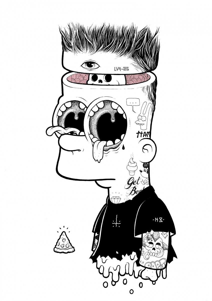 Bart- ink on illustration board