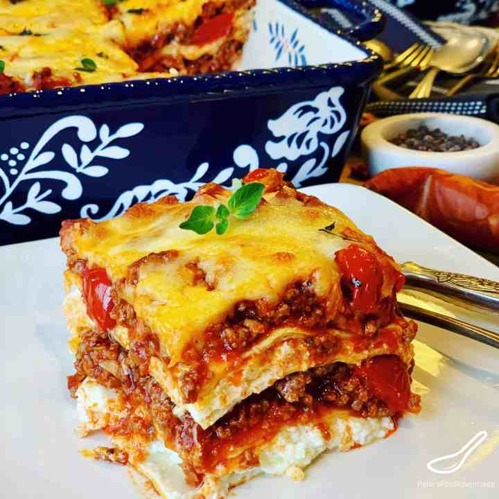 Square piece of Lasagna on a plate