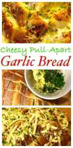 This easy recipe is perfect with sourdough, fresh garden herbs and garlic then loaded with gooey cheese, perfect with dinner - Easy Cheesy Garlic Pull-Apart Bread