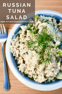 Russian salads aren't leafy, they're hearty! Russian Tuna Salad is perfect as a side salad, or even on a piece of rye bread!