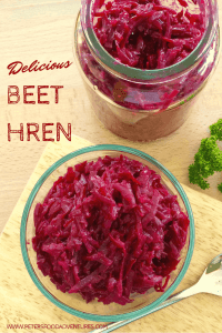 A tasty Russian condiment with a wasabi-like kick. How to make Hren Horseradish and Beets (Хрен со свеклой). Perfect with steak or smoked meats!
