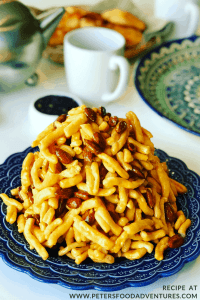 A delicious Chak Chak recipe from Tatarstan. A Fried Honey Cake popular in Russia, Uzbekistan, Kazakstan and across Central Asia and the former Soviet Union. Chak Chak or Çäkçäk is served for guests, at weddings and celebrations.