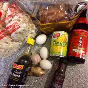 Chinese Chicken and Corn Noodle Soup ingredients