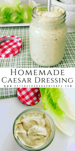 Homemade Caesar Salad Dressing in a jar with a spoon