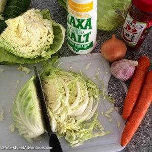 Fermented Spicy Sauerkraut prepping cabbage