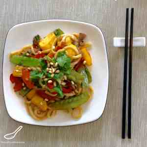 Asian Stir Fry with packed full of healthy veggies like Summer Squash also knowns as Pattypan or Zucchini, Snow Peas, Pine nuts, Peppers, Noodles and more!