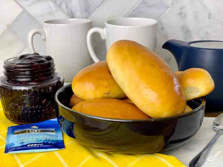 Baked Piroshki Not Fried! A Sweet Dough Russian Hand Pie Filled with Blueberries, made so much quicker with this easy bread maker yeast dough recipe, also with traditional sweet dough video instructions. Easy Baked Blueberry Piroshki (Пирожки в духовке с голубикой