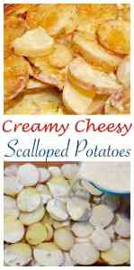 I Love This! Delicious and Easy to Make. Cheesy Scalloped Potatoes with Parmesan Cheese, Whipping Cream, and Nutmeg.