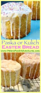 A Russian sweet bread made for Easter, similar to Italian Panettone. Easy recipe using bread maker dough setting. Traditionally made with raisins, but this recipe uses dried cranberries and blueberries - Kulich Easter Bread (Кулич)