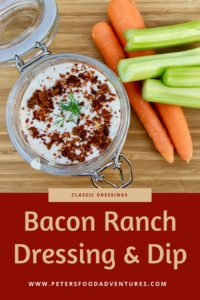 This Homemade Bacon Ranch Salad Dressing & Dip made with Buttermilk, tastes 10 times better than store bought. So easy and delicious you'll never buy Kraft again!