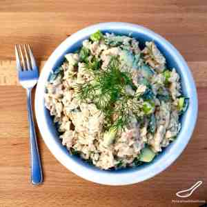 Russian Tuna Salad Recipe (рыбный салат) - Russian salads aren't leafy, they're hearty! Russian Tuna Salad is perfect as a side salad, or even on a piece of rye bread!