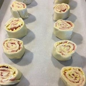 Ham and Cheese Rolls on a baking tray