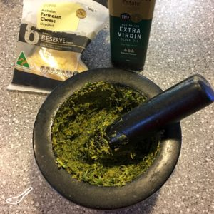 Easy Pesto using a Mortar and Pestle preparation