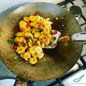 Salt and Pepper Shrimp in a Wok