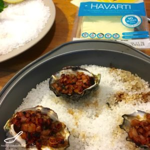 Grilled Oysters with bacon, worcestershire sauce topped with Havarti or Edam cheese, easy gooey appetizer - Grilled Oysters Kilpatrick with Cheese