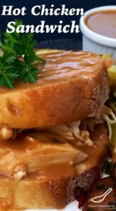 Hot Chicken Sandwich Recipe - A Classic Canadian recipe inspired by Swiss Chalet, shredded rotisserie chicken smothered in gravy.