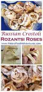 Just like babushka made... This rose-shaped, sweet, crispy, deep fried pastry dessert is also known as Angel Wings, Crostoli, Faworki, Raderkuchen, Bugnes, Hvorost and more - Hvorost Rozantsi (Розанцы)
