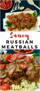 Russian style meatballs with Podlivka or gravy, served with pasta or mashed potato. Comfort Food! - Russian Meatballs Kotleti with Podliva (Котлеты с подливкой)