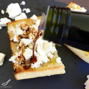 Toasted Turkish Bread with crumbled Feta, generously slathered in a delicious flavoured finishing vinegar (balsamic vinegar) is an amazing breakfast, delicious lunch or easy snack - Toasted Turkish Bread with Feta & Caramelized Fig Vinegar