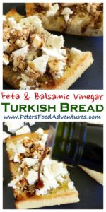 Toasted Turkish Bread with crumbled Feta, generously slathered in a delicious flavoured finishing vinegar (balsamic vinegar) is an amazing breakfast, delicious lunch or easy snack - Toasted Turkish Bread with Feta & Caramelized Fig Balsamic Vinegar