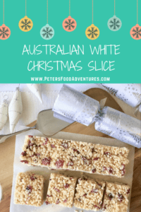 An Australian Christmas favourite, easy to make, loved by kids and grown ups. Perfect for the holidays! Made with Crisco/Copha or virgin coconut oil, dried cranberries, Rice Krispies and white chocolate - White Christmas Slice Recipe