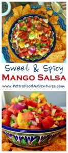 Easy and delicious, sweet, tangy and spicy, the perfect salsa dip snack with nachos for Super Bowl, or simply on top of grilled chicken or fish - Fresh Mango Tomato Salsa