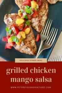 The ultimate summer recipe, easy to make and delicious. Bbq grilled chicken with fresh mango, tomatoes, jalapeños, peppers and cilantro - Grilled Chicken Mango Salsa