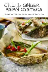 Freshly shucked oysters drizzled with an Asian vinaigrette, with fresh chili pepper and grated ginger. You'll definitely fall in love with my Asian Oyster Dressing Recipe