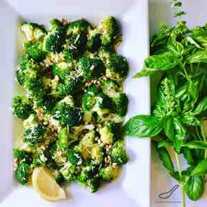Roasted in olive oil and fresh garlic, tossed with fresh parmesan, fresh lemon and toasted pine nuts, this recipe is a healthy family favorite! Parmesan Roasted Broccoli & Pine Nuts