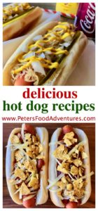 My favorite Hot Dog Toppings Recipes. Tex-Mex Hot Dogs with chili, cheese and Doritos, and a delicious Sauerkraut Hot Dog with dill pickles, onion and tasty mustard! Hot Dog Topping Ideas Recipes