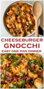 Your kids will LOVE this! The only way to eat gnocchi, an easy one pot wonder! Cheeseburger inspired with seasoned ground beef, bacon, tomatoes, red peppers, gooey melted cheddar cheese. Bacon Cheeseburger Gnocchi