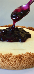 So easy to make, a timesaver that can be prepared in advance. A Vanilla Bean Cheesecake on a cookie base, topped with blueberries - Easy No Bake Blueberry Cheesecake Pie