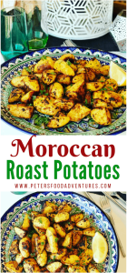 So easy to make this side dish of crispy roasted potatoes, jam packed with spices like cumin, paprika, turmeric and optional spicy Harissa! No par-boiling, just crispy roasted on a baking sheet, perfect with your roast chicken dinner or a tagine meal! Easy Moroccan Roasted Potatoes