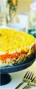You have to try this Mimoza Salad (Салат Мимоза)! A delicious Russian layered salad popular during celebrations and holidays. A hearty salad with Tuna, Potatoes, Carrots, Eggs and of course, lots of Mayo. Who needs regular potato salad when you can have Mimosa Salad!