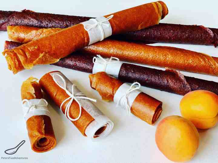 Homemade Fruit Leather rolled up and tied with a string