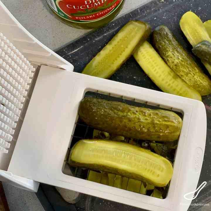 Slicing pickles in a chopper