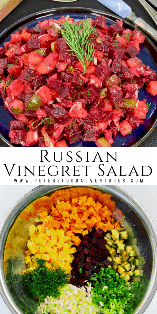 A classic Russian Vinegret Beet and Potato Salad, popular across Eastern Europe. A healthy, hearty and delicious salad with beets, potatoes, carrots, pickled cabbage, dill and pickles. Vegan and gluten free, tastes even better the next day!