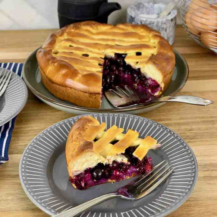 Russian Blueberry Pie made with Yeast Dough