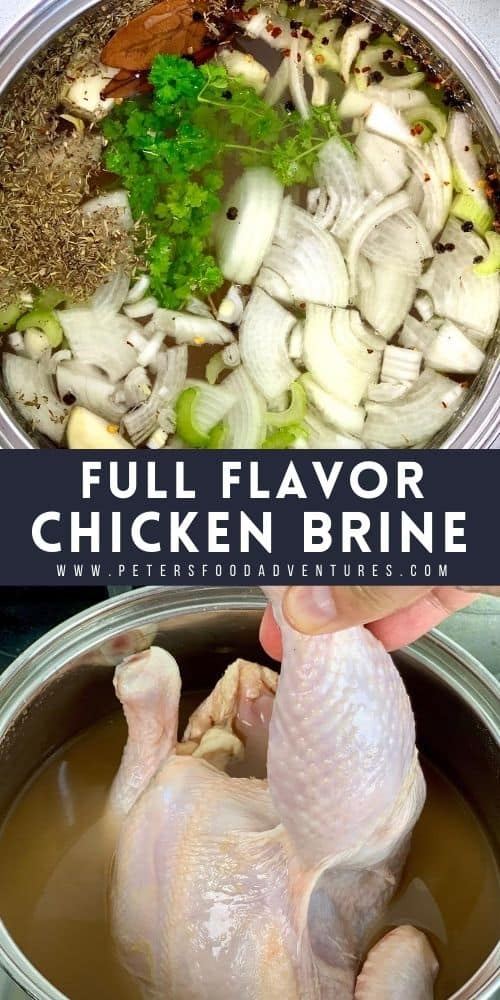 Two flavorful chicken brine recipe that are both moist, tender and juicy. A wet brine and a dry brine recipe that you can use for any poultry, ready to roast or in a smoker for smoked chicken.