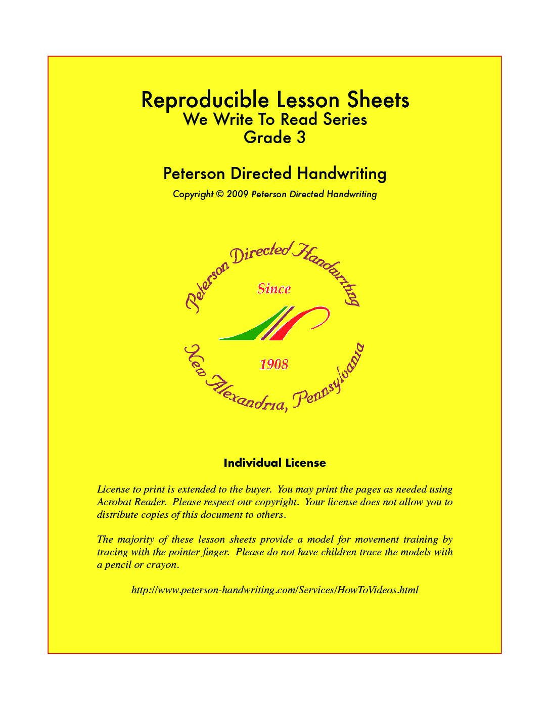 Reproducible Lesson Sheets Grade Three