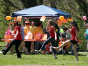 Some participants dance along to the Cupid Shuffle and Electric Slide.