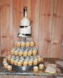 Cupcake and wedding cake display.