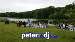 Sound setup for outdoor ceremony at Kimberly and Giovanni's wedding at Wolf Oak Acres in Oneida, NY, June 2018